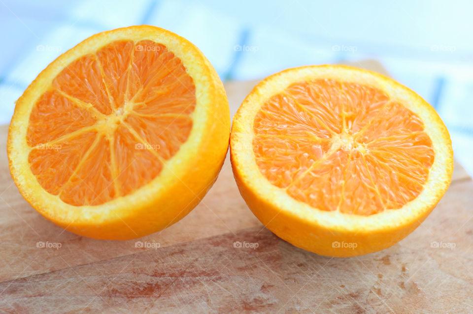 Close-up of halved oranges
