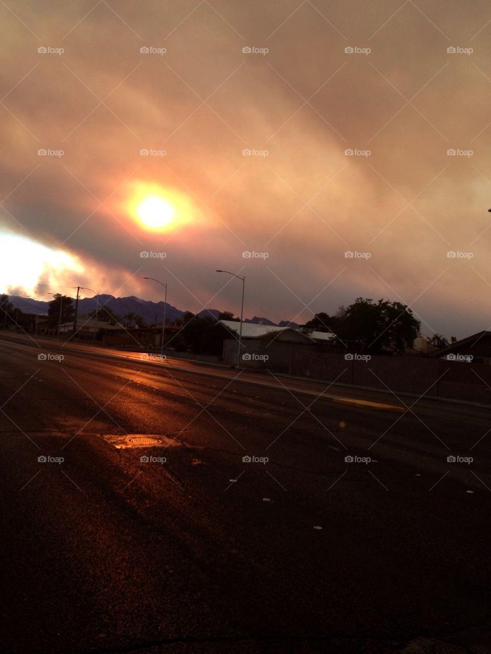 Smoke from Mt. Charelston in Las Vegas
