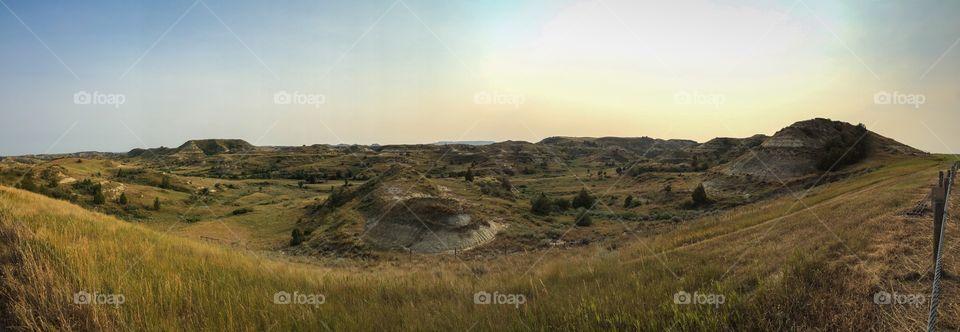 Panoramic view of badlands
