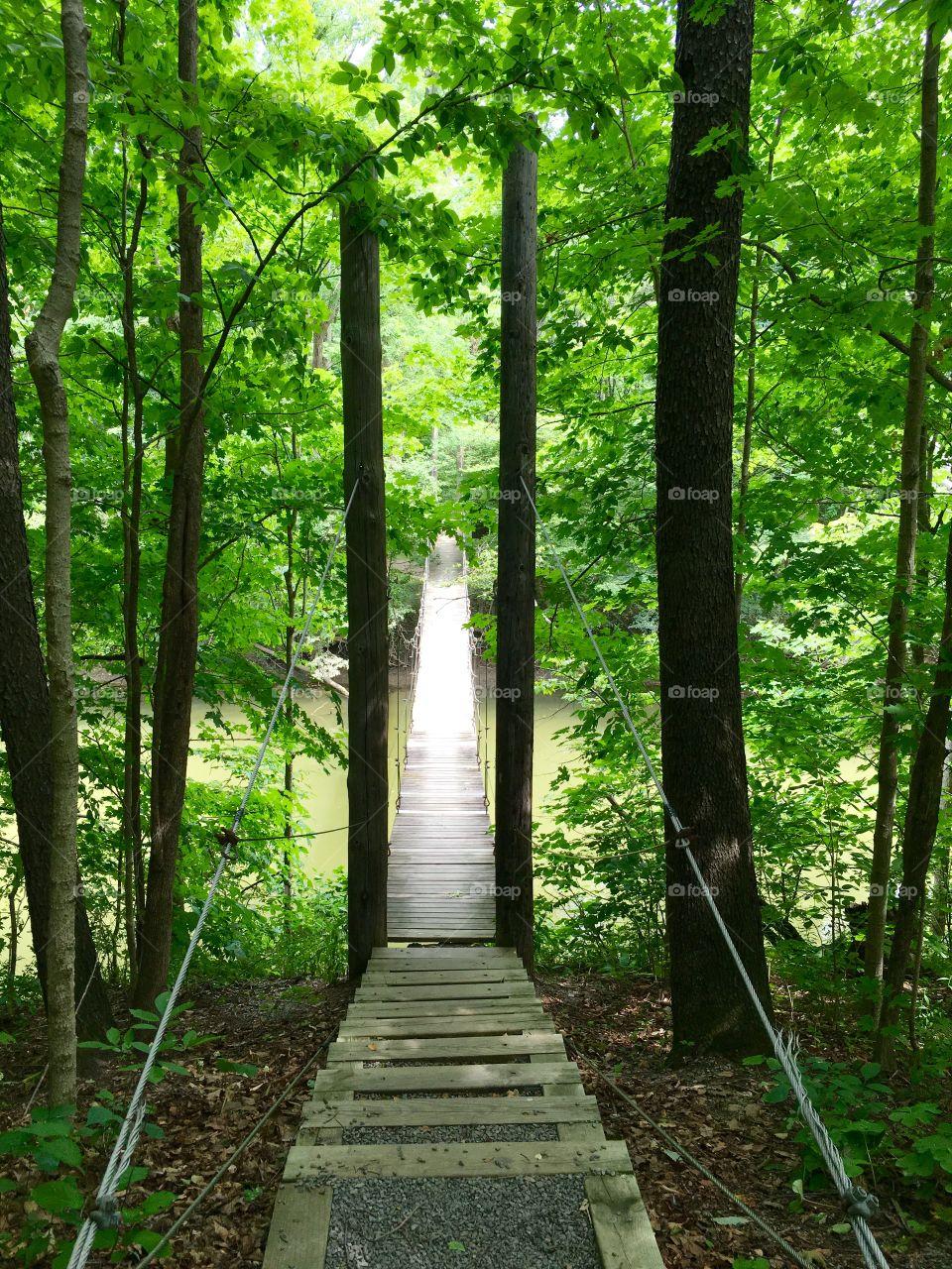 Swinging bridge in Bluffton Ohio
