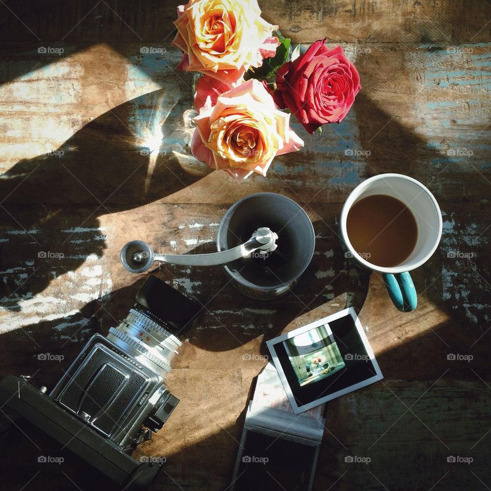 coffee roses beans grinder by karenstrolia