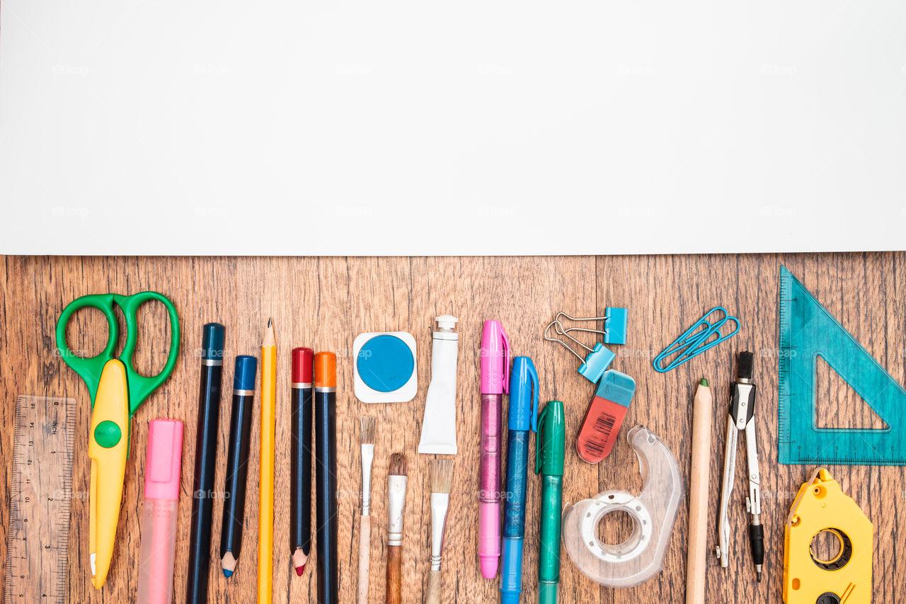 Foap.com: Top View Of School Accessories On A Desk Stock ...