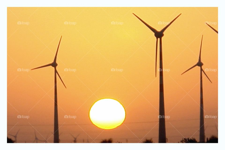 At the end of the day . Wind farm in the Thar Desert, India