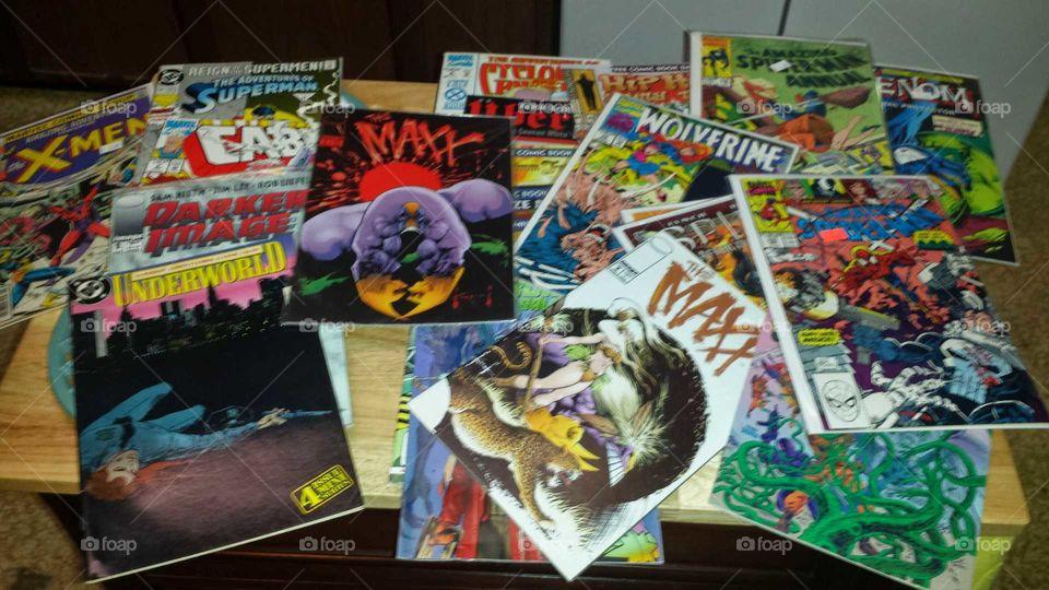 Comic book pile