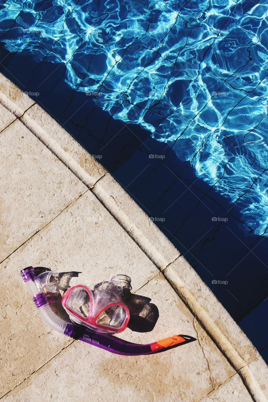 High angle view of snorkel near swimming pool