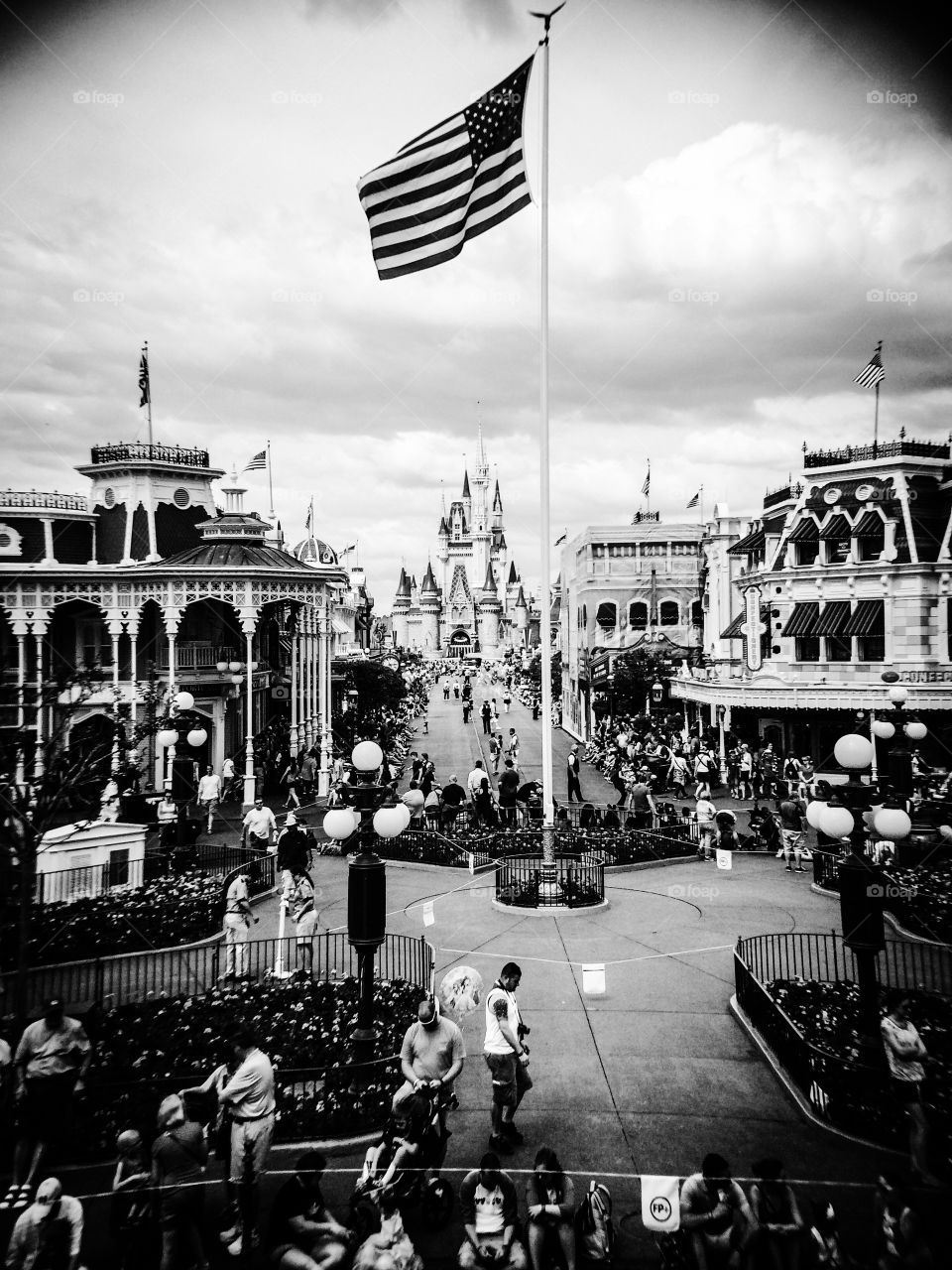 Main Street USA. Walt Disney's version of the atypical Main Street as it plays out at the Magic Kingdom in Florida.