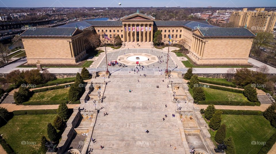Aerial view of the Philadelphia Museum of Art in Philadelphia, PA.