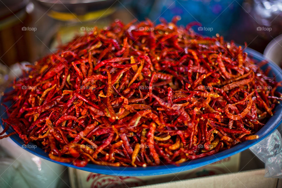 Dried red chillies at Thai local market. one of the ingredient for Thai cuisine