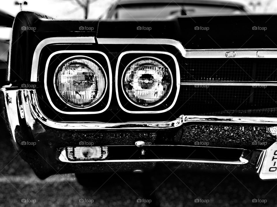 Oldsmobile Car Headlights, Classic Oldsmobile Car, Black And White Car Portrait, Car Photography, Monochrome Car Photograph, Vintage Automotive