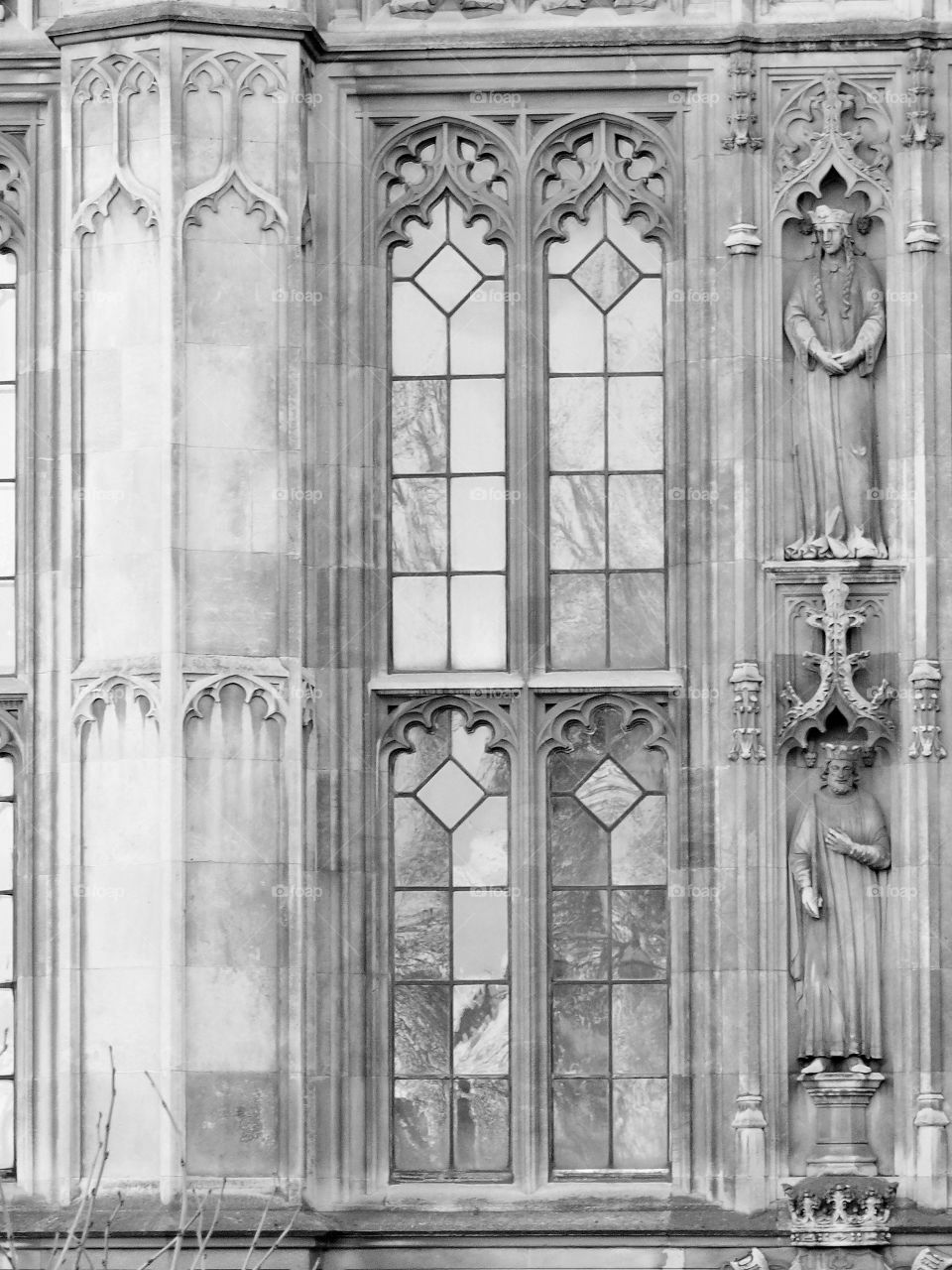 Ornate facade and Windows. Black and white photo taken in London.
