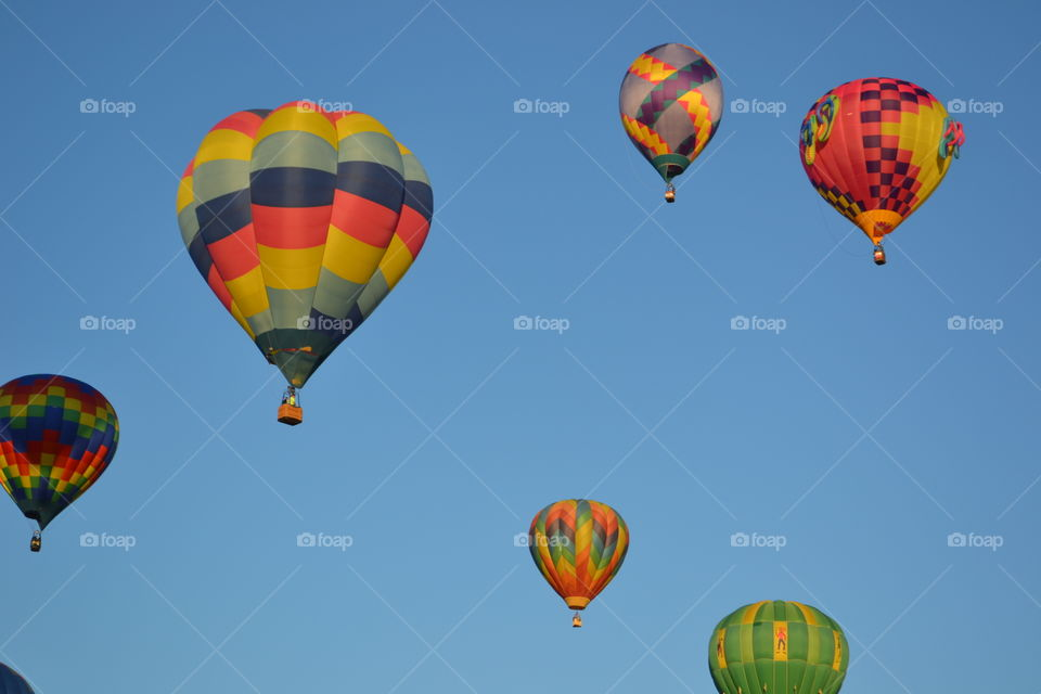 Hot air balloon flying in sky