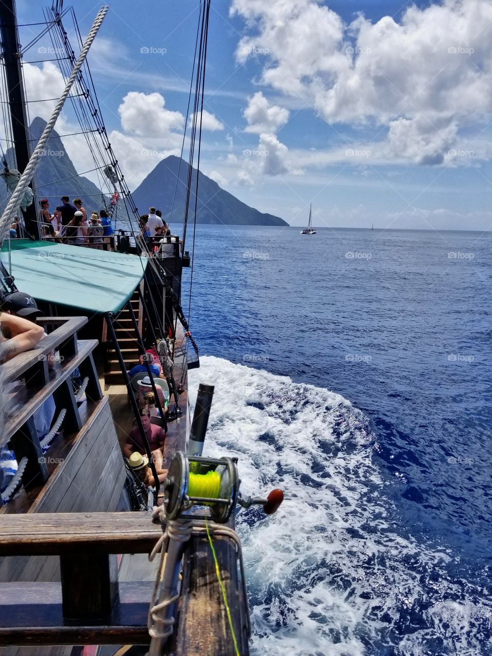 Pirate ship excursion headed towards the pitons St Lucia
