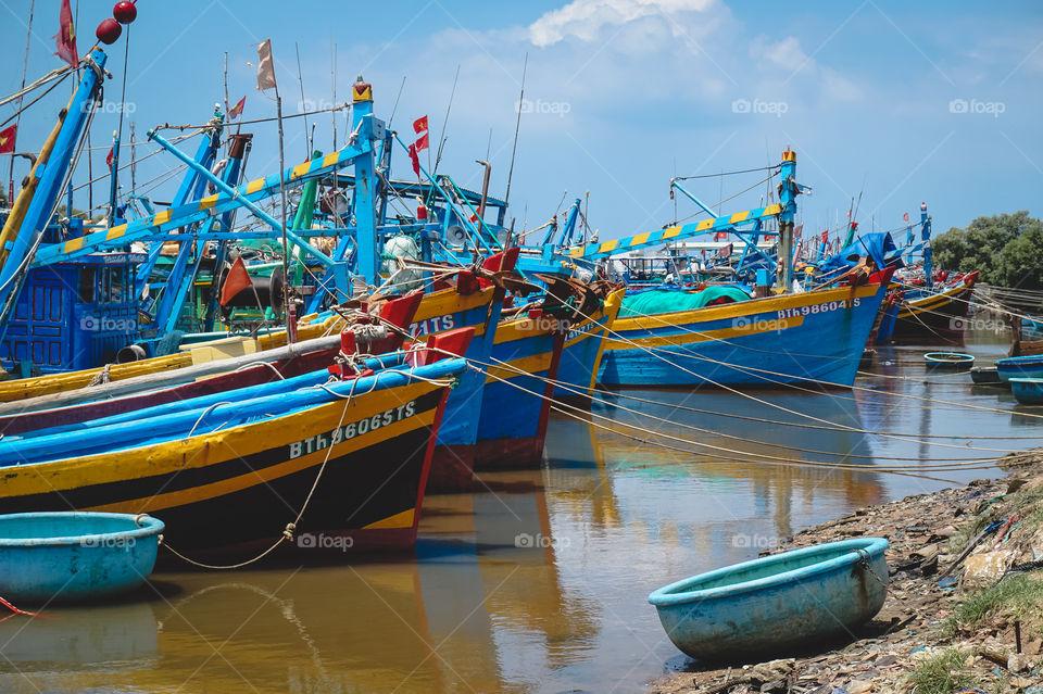 Vibrant Vietnamese fishing boats