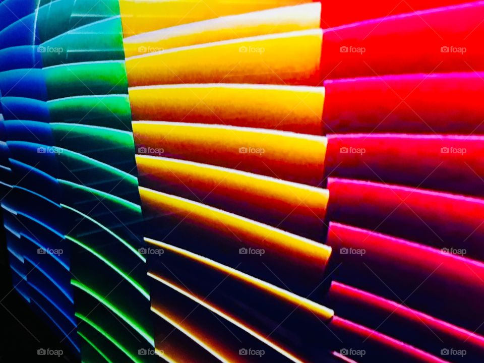 Blue, green, yellow and red colored blinds