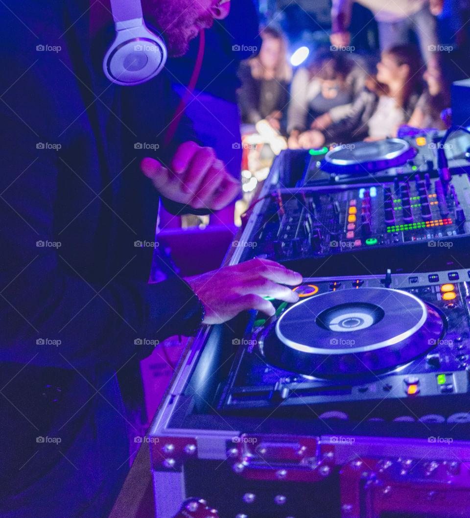 DJ entertains silent disco