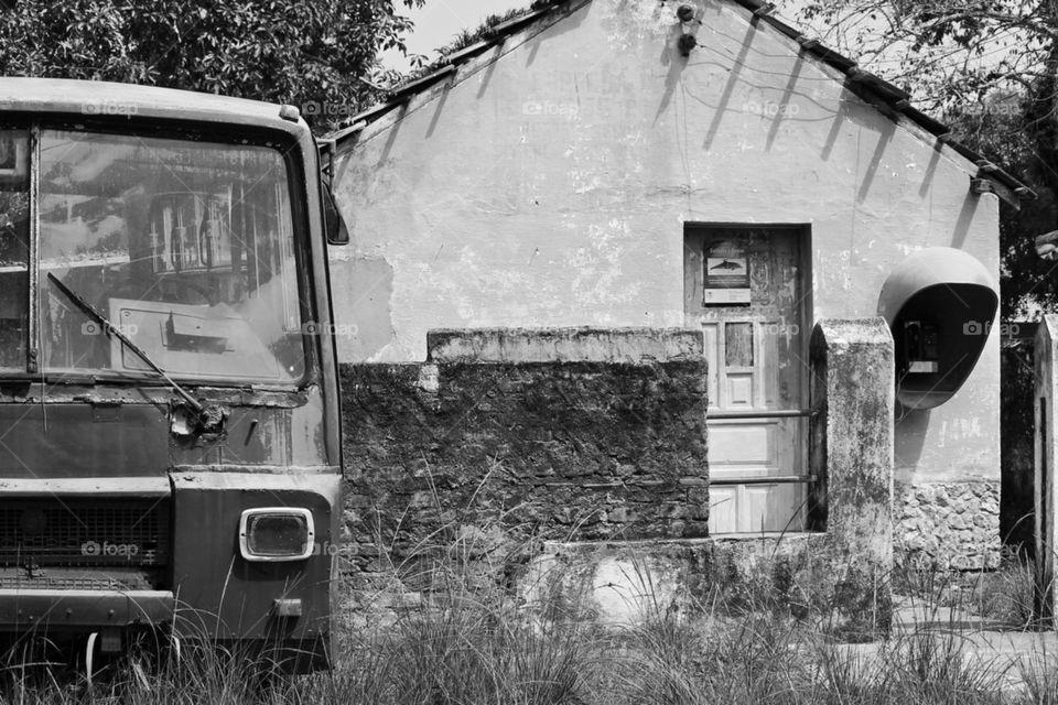 white black bus town by liondb1