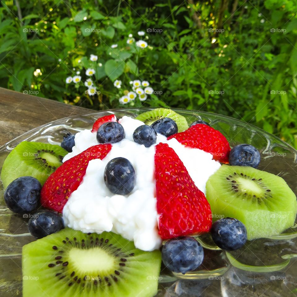Close-up of fruits and yoghurt in plate