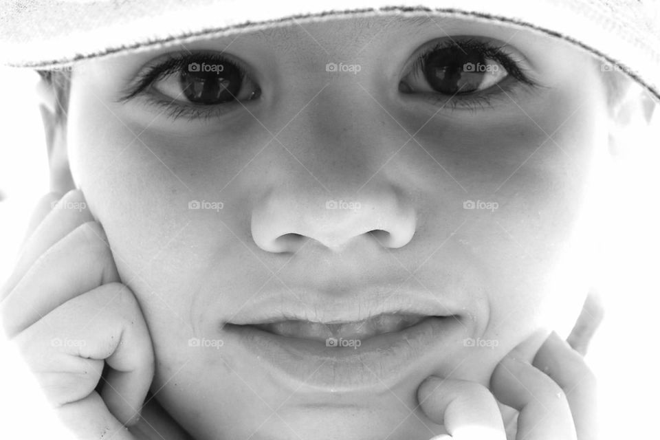 Child's eyes. Close-up of a child's face