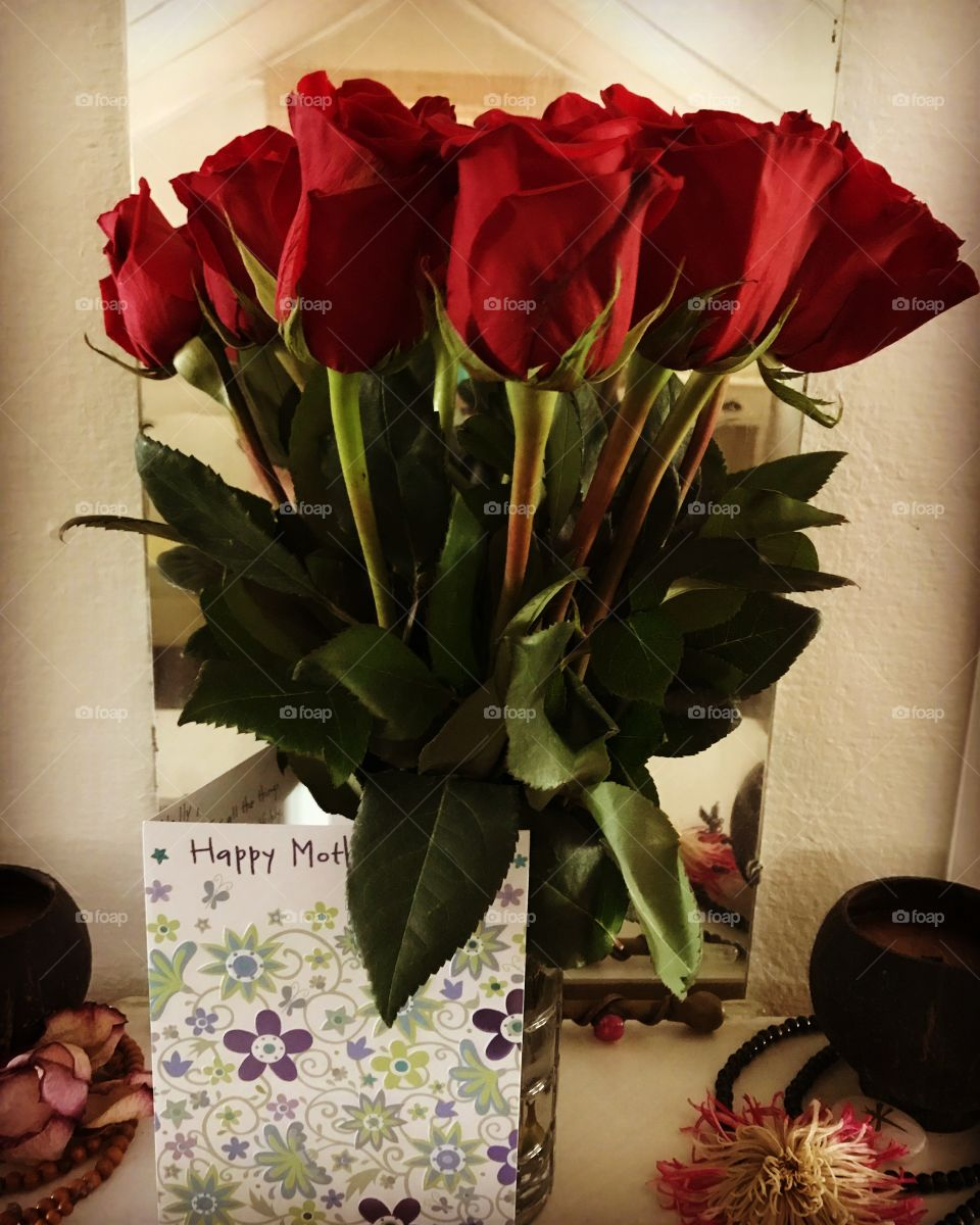 Dozen red roses, and card, for Mother's Day