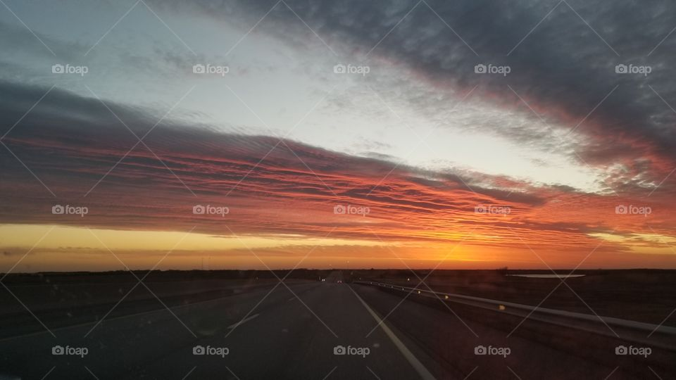 No Person, Sunset, Road, Dusk, Evening