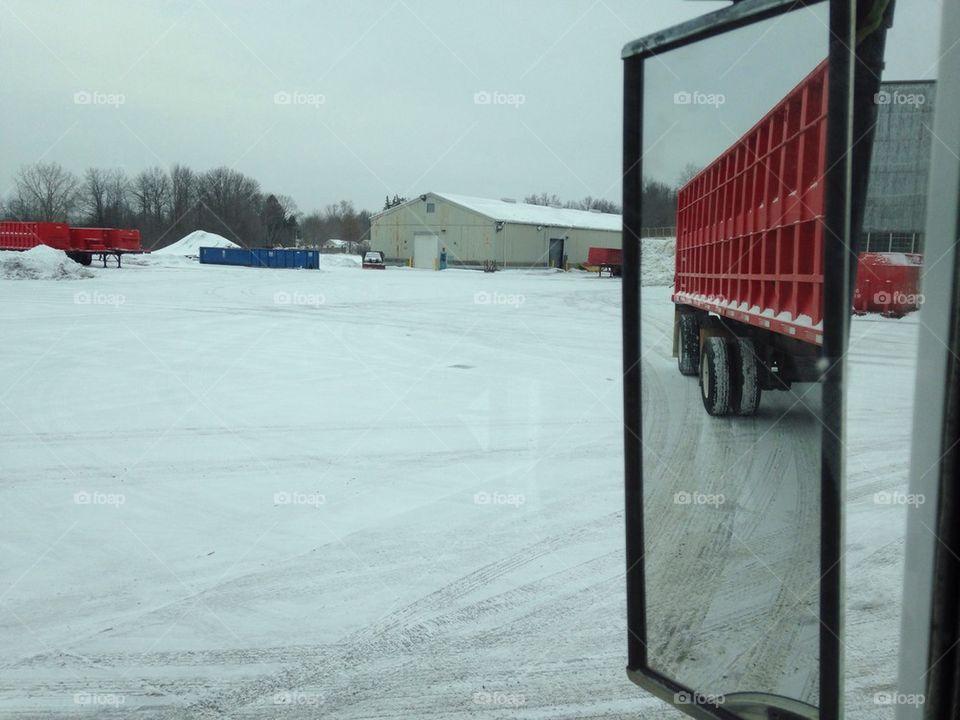 Snow mirror truck