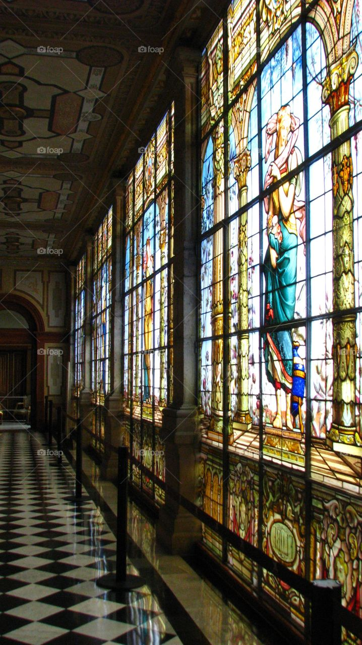Stained glass at Chapultepec Castle. The one and only Castle at America.