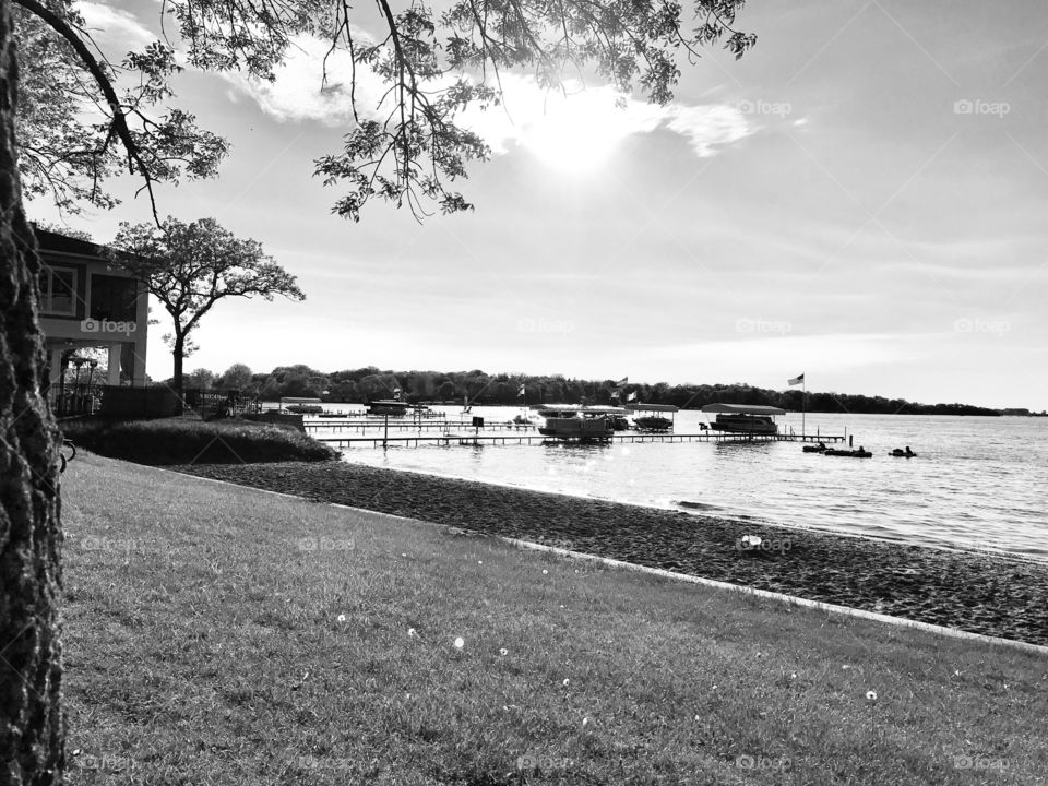 Black and white photo of beautiful afternoon spent at the beach on a gorgeous late spring day!!