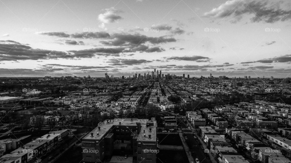 Black and white of Philadelphia Skyline at sunset.
