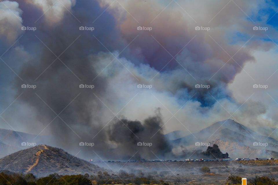 Wildfire.. There was a wildfire shutting down the southbound side of I-15 from LA to LV. Cars burned. 7/17/15 (Google it)