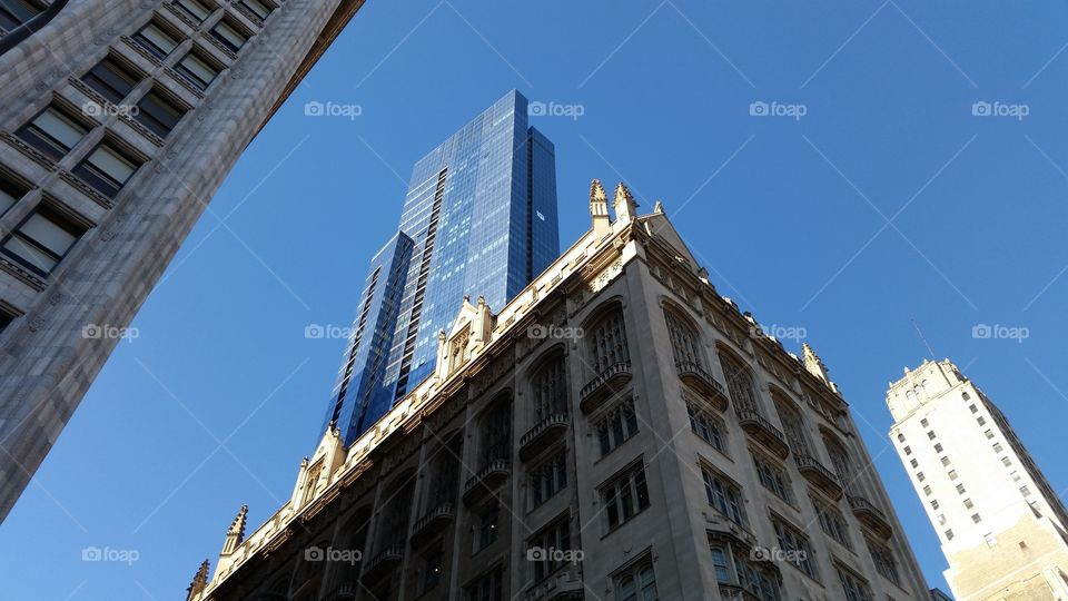 """this is downtown Chicago. If you look closely at that white speck on the building you'll see a banner with a big """"W"""" on it :-)"""