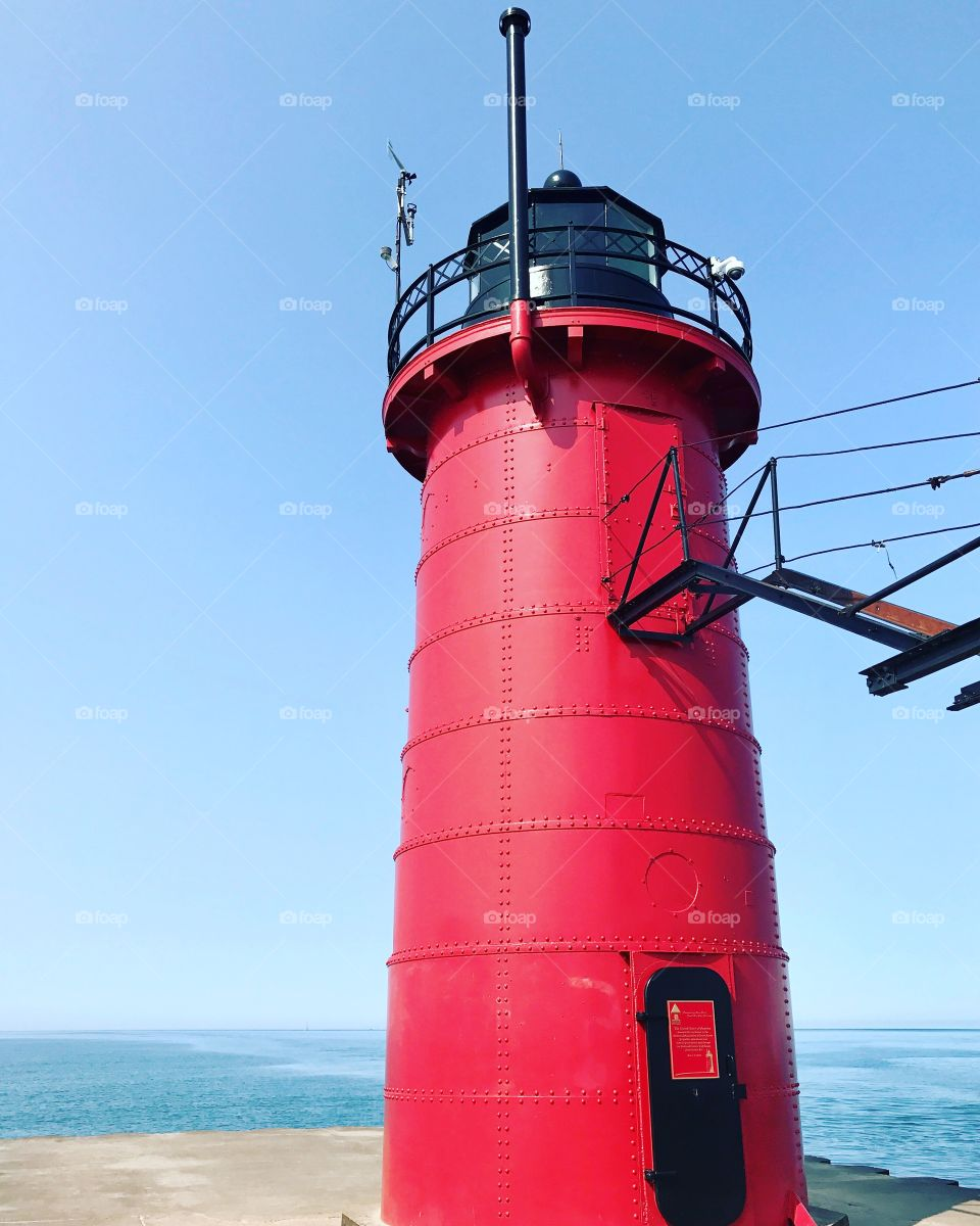One of many Lighthouses along Lake Michigan in South Haven, Michigan, great walkway to where it sits!