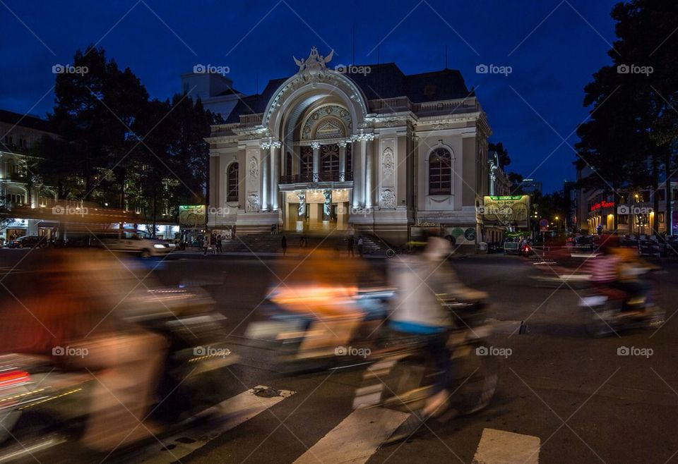 Traffic at the Saigon opera