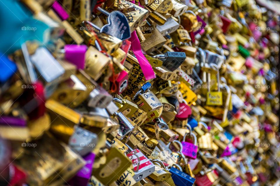 Close-up of love locks
