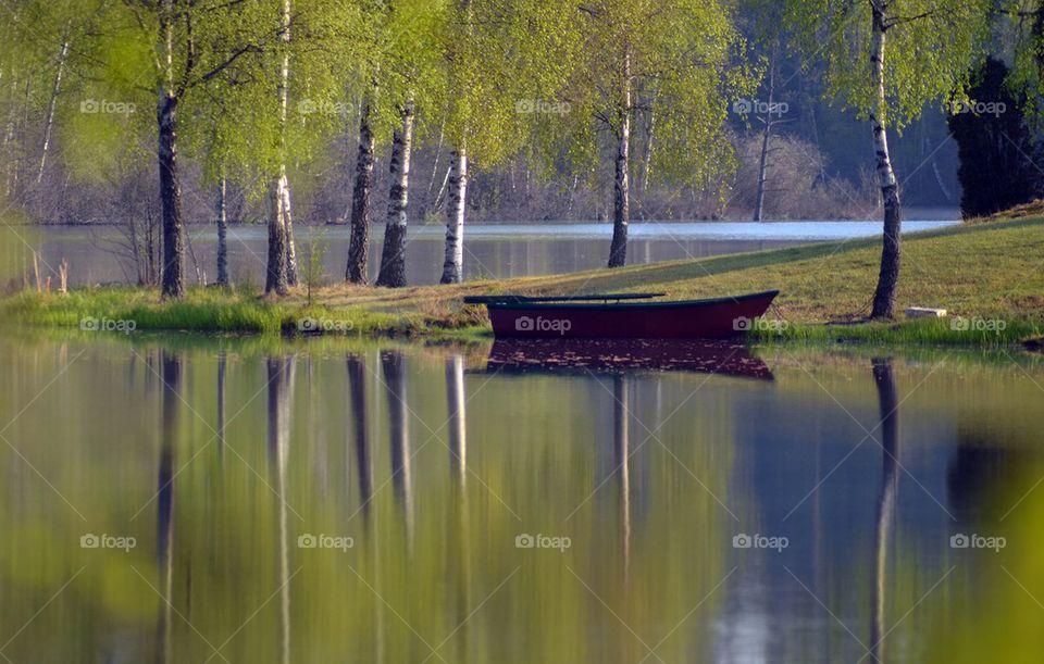 Rowing boat near lake