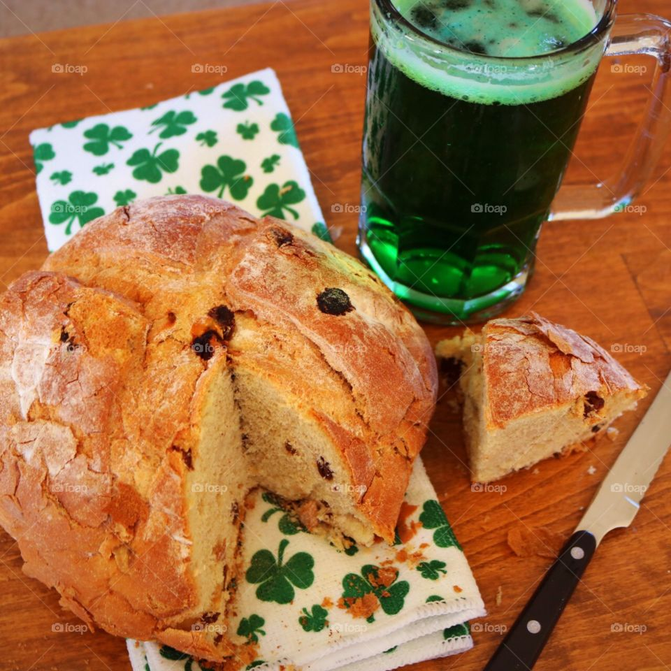 St. Patrick's Day- Green Beer and Irish Soda Bread.