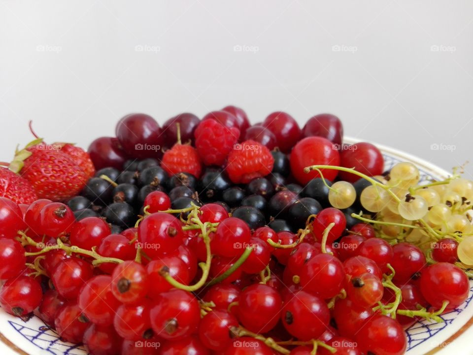 Fresh berries in plate