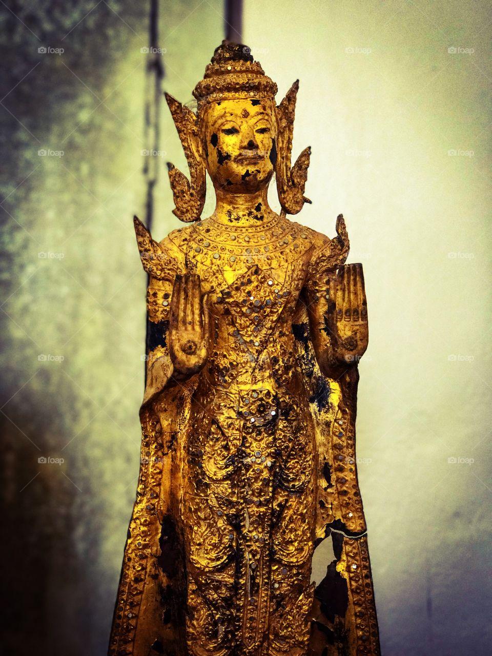 Ancient Buddha image displayed in Chaiya National Museum, Surat Thani, southern Thailand