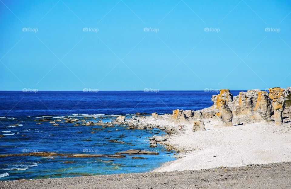 Scenic view of rocky coastline