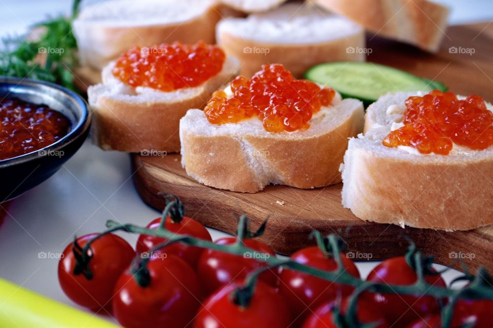 Baguette sandwiches with salmon roe