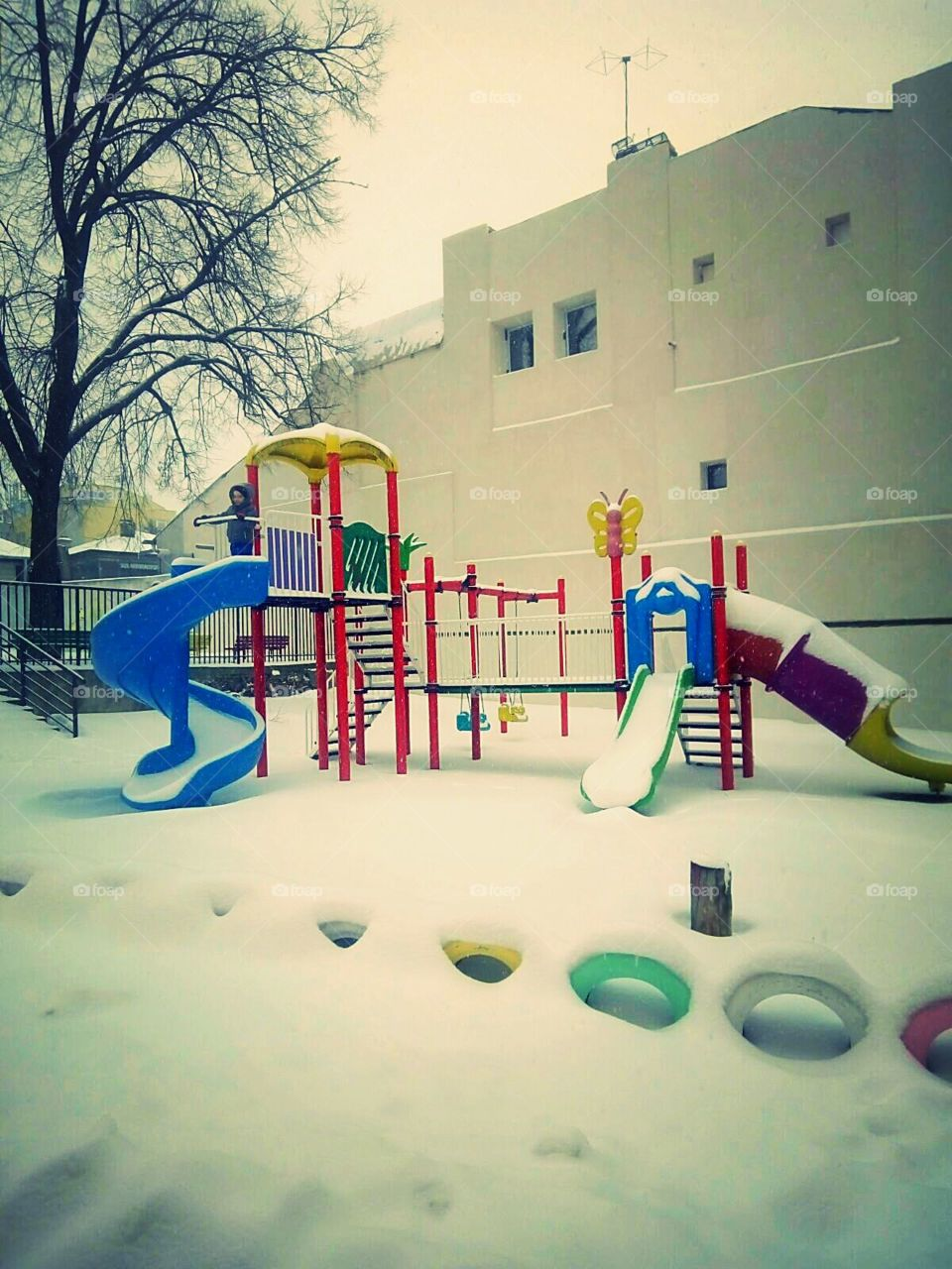 playground in winter