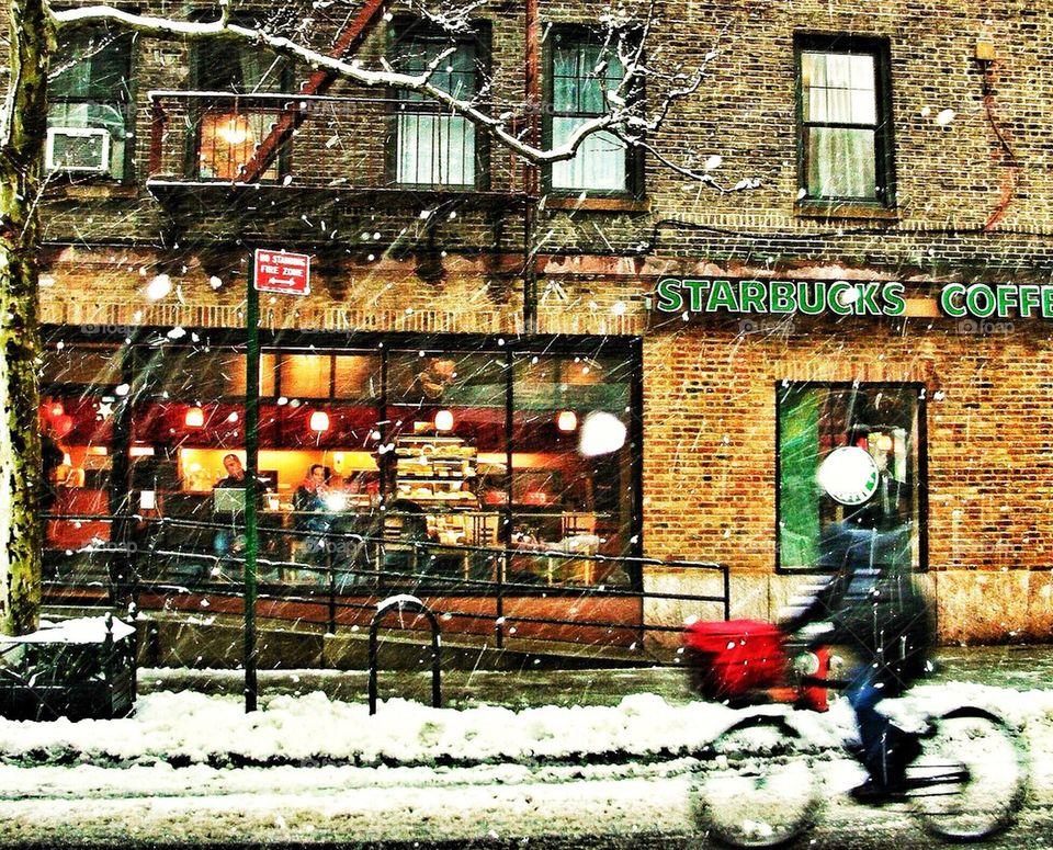 Starbucks, Cyclist and Snow