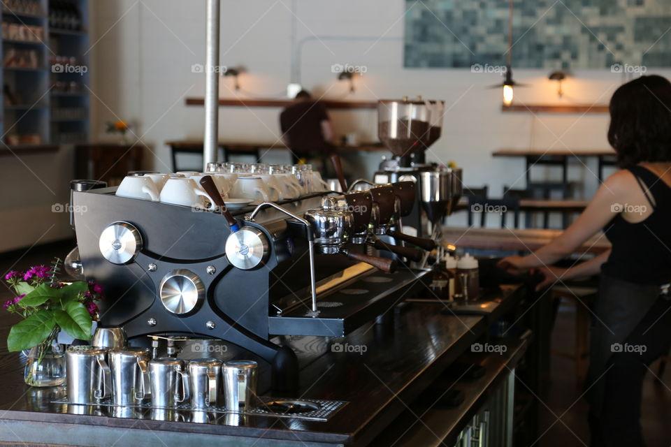 Close up of espresso machine