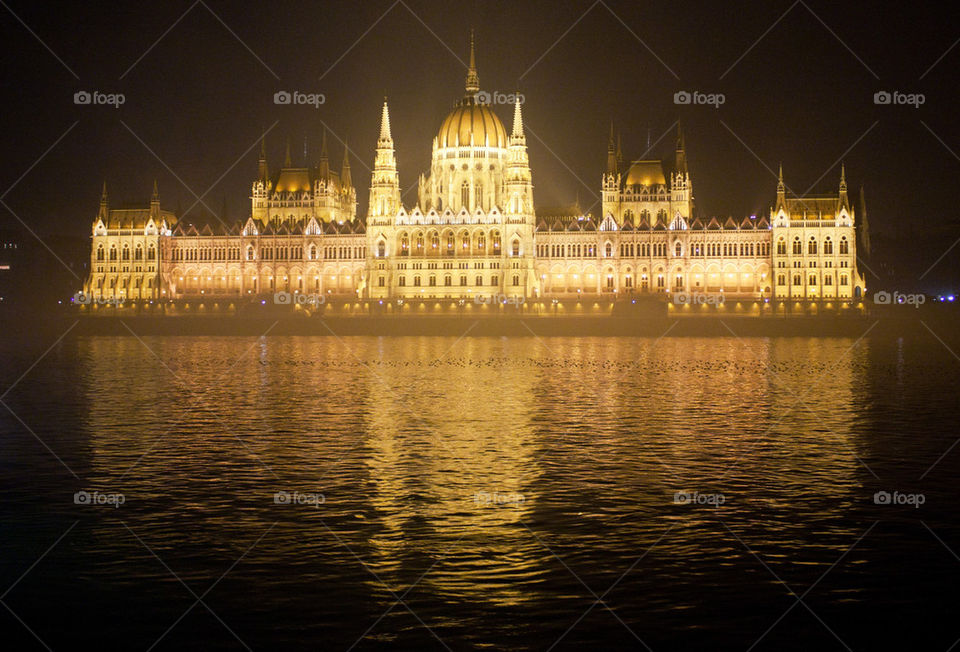 Illuminated parliament at night | reflection, winter, government, east