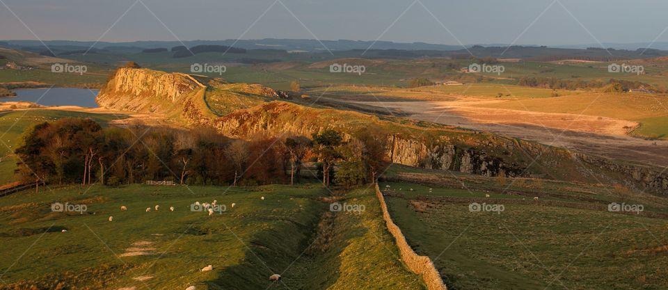 Hadrians wall at sunset