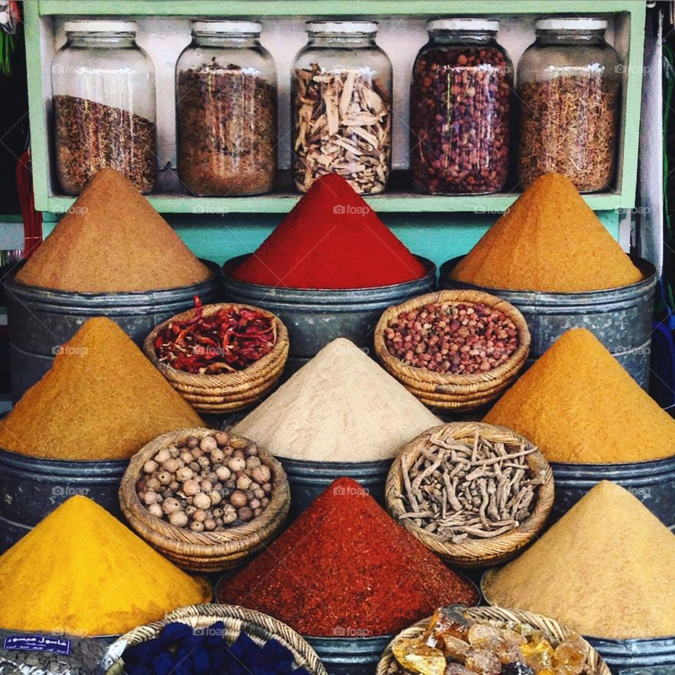 Spice display in Morocco