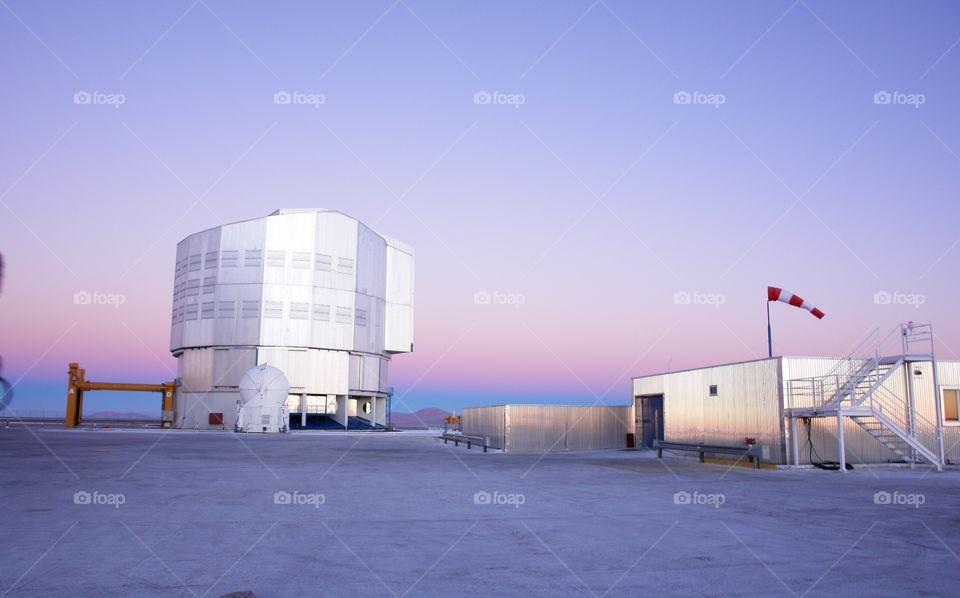 Telescope atop Cerro Paranal, Atacama Desert . Telescope, Cerro Paranal, Atacama Desert, Chile