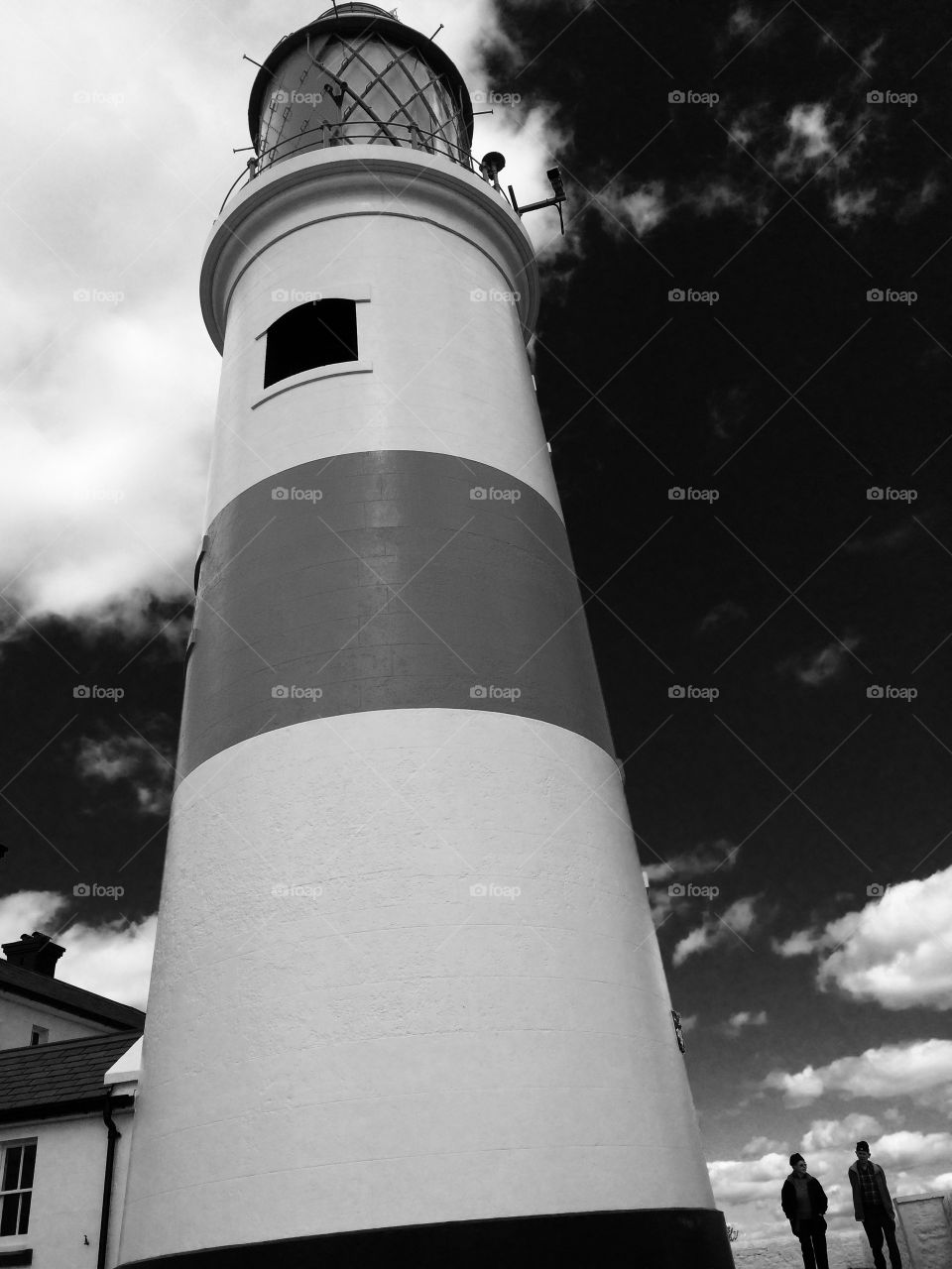 Souter. Looking up Souter Lighthouse ...