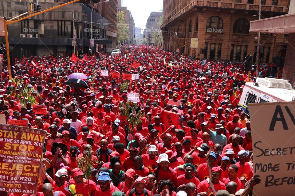 Thousands of people came together in Newtown, Johannesburg to protest against the national minimum wage and changes to labor laws. 25 April 2018. Johannesburg