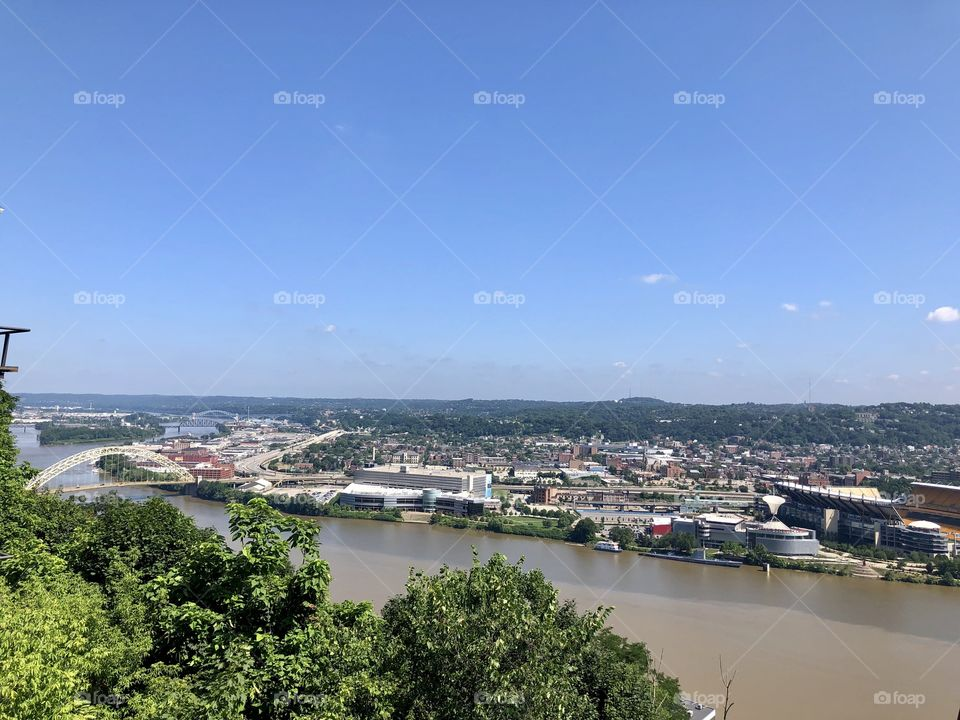 Pittsburgh Pennsylvania on a hot summer day. View from the incline.