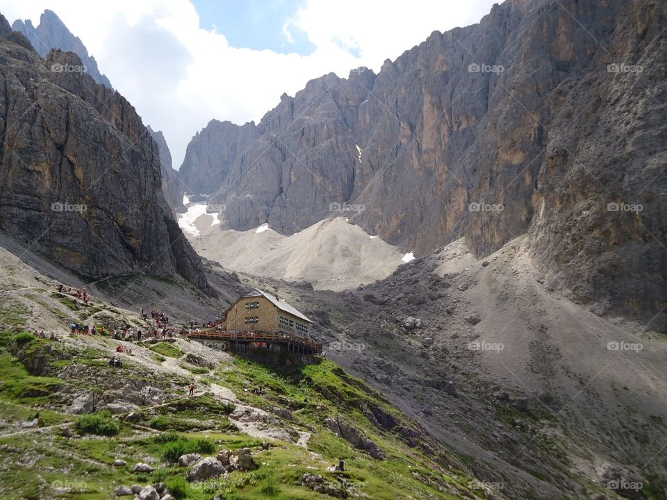 Distant view of house in dolomite